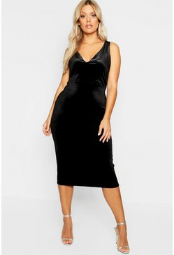 Womens Black Plus Velvet Plunge Midi Dress