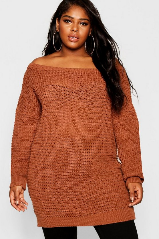 Plus Slash Neck Waffle Knitted Jumper