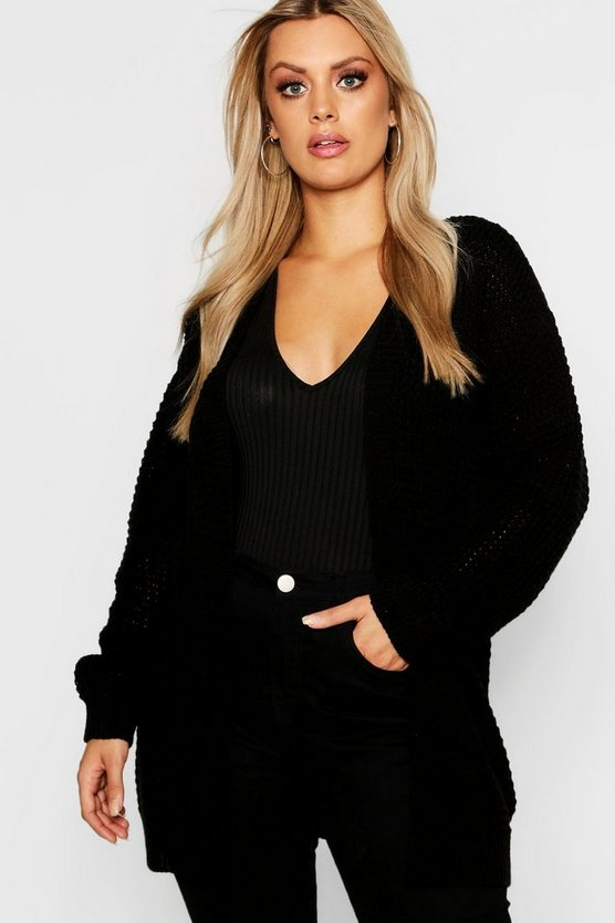 Black Plus Waffle Knitted Edge to Edge Cardigan
