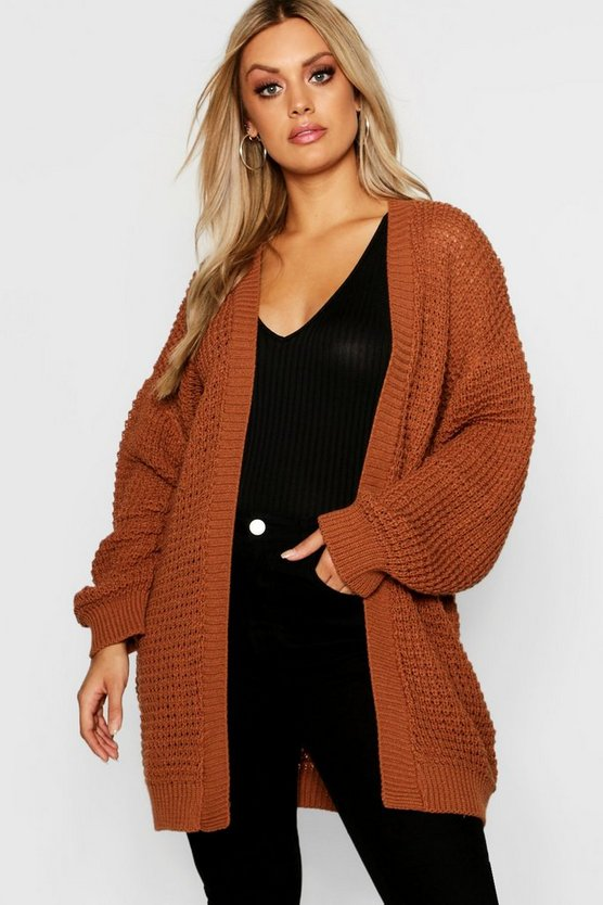 Plus Waffle Knitted Edge to Edge Cardigan