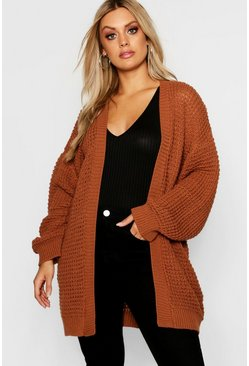 Womens Cinnamon Plus Waffle Knitted Edge to Edge Cardigan