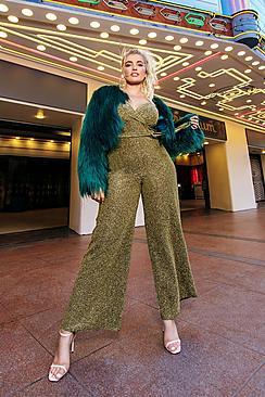 60s – 70s Pants, Jeans, Hippie, Bell Bottoms, Jumpsuits Plus Glitter Wrap Front Wide Leg Jumpsuit $60.00 AT vintagedancer.com