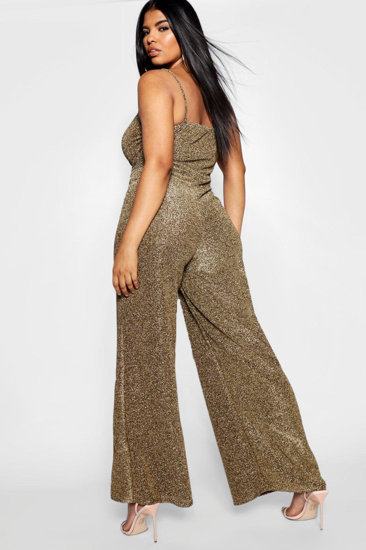 Glitter Wrap Wide Leg Plus Jumpsuit gold Front USdanwq