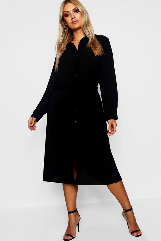 Womens Black Plus Utility Pocket Front Midi Shirt Dress