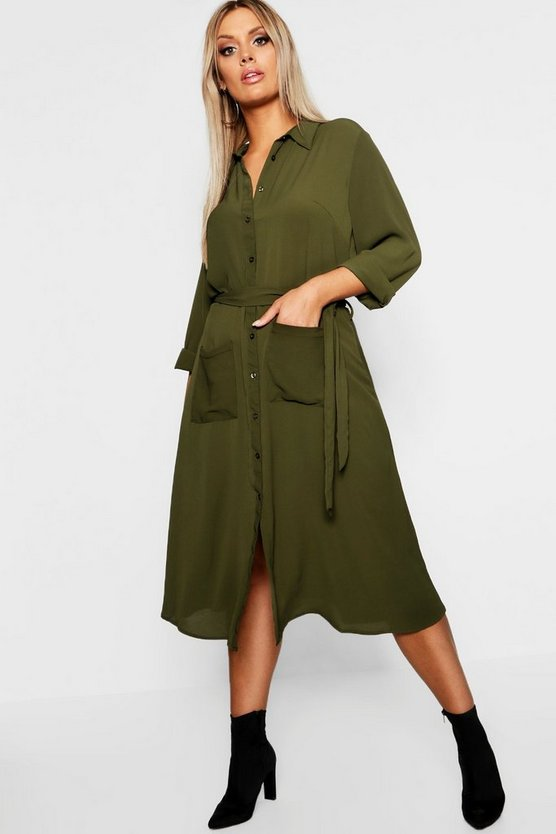 Plus Utility Pocket Front Midi Shirt Dress