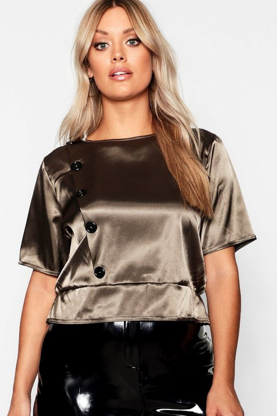 Plus Button Satin Smock Top