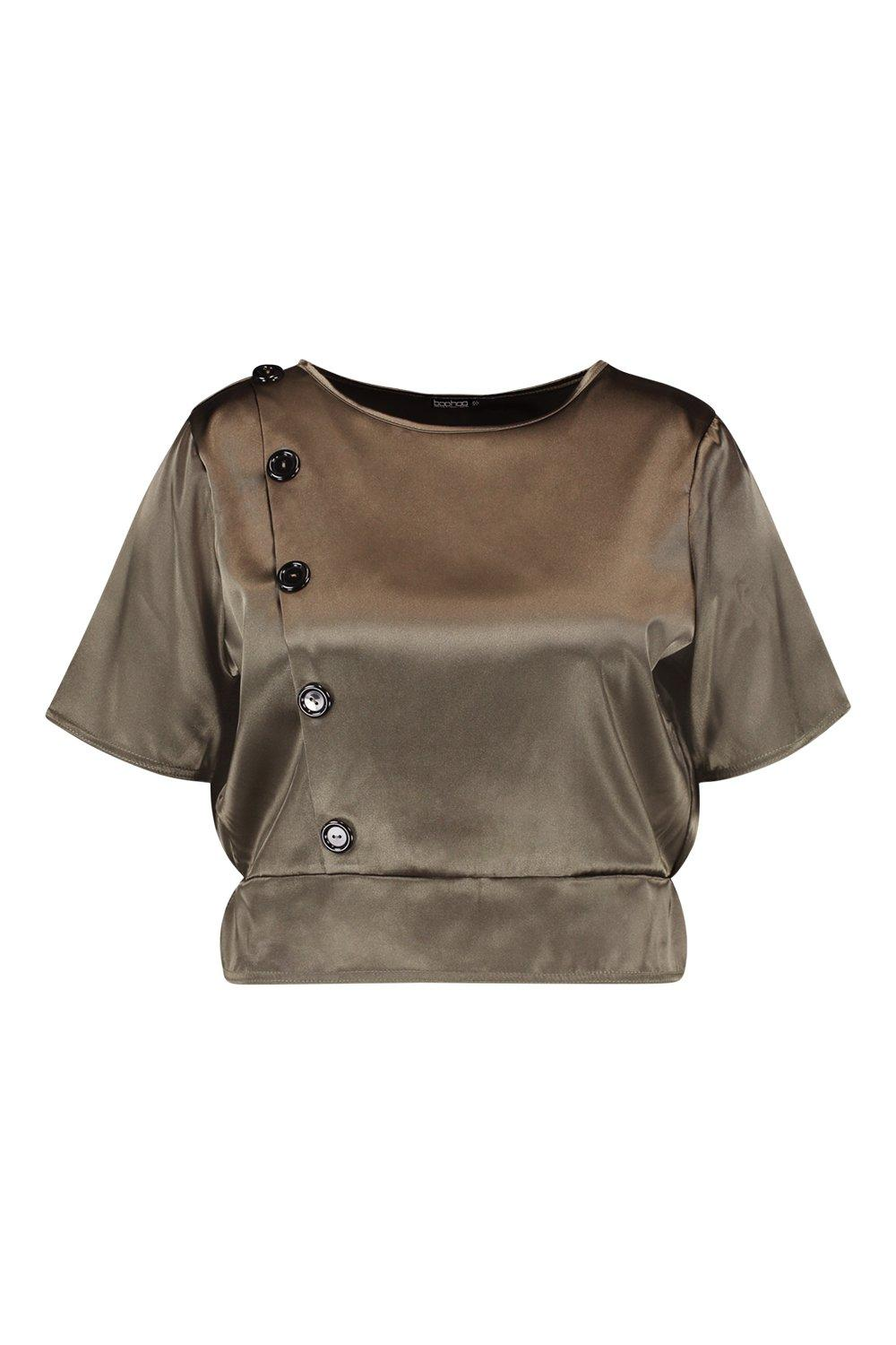 Plus Satin Top Smock khaki Button ZW7701qHnA