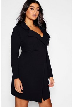 Womens Black Plus Blazer Wrap Mini Dress