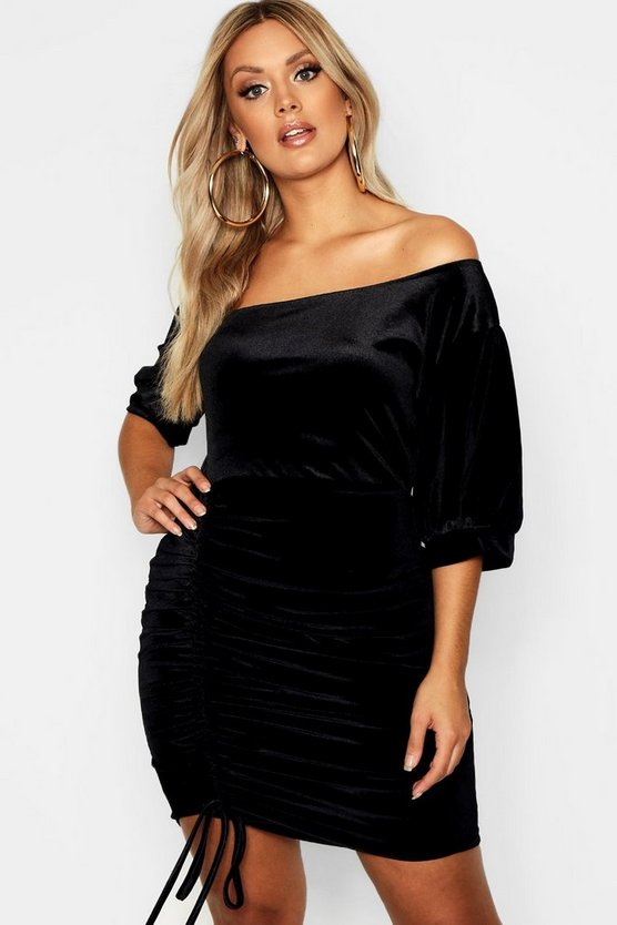 Womens Plus Slash Neck Velvet Ruched Bodycon Dress