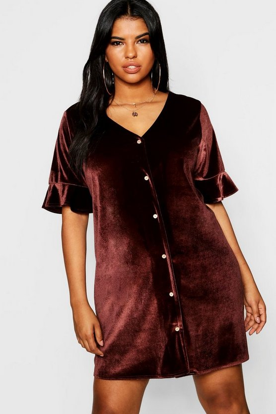 Womens Plus Button Detail Velvet Shift Dress