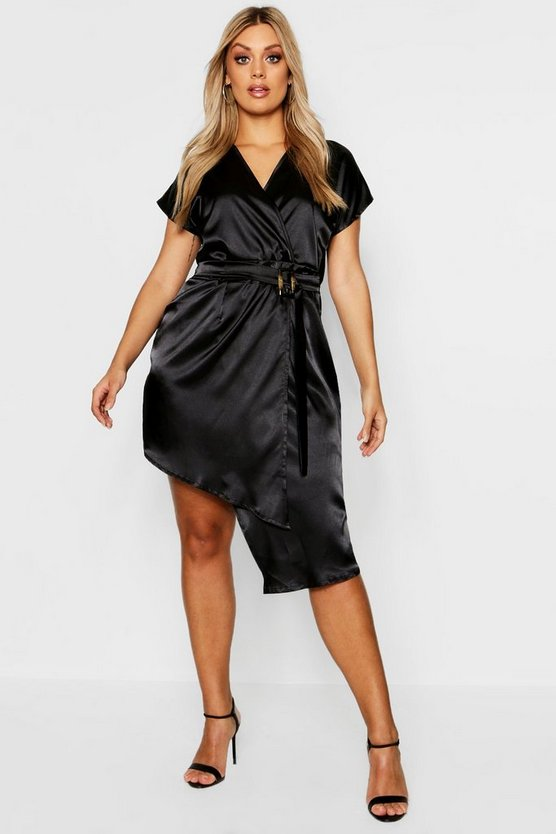 Black Plus Tortoise Shell Buckle Satin Wrap Dress