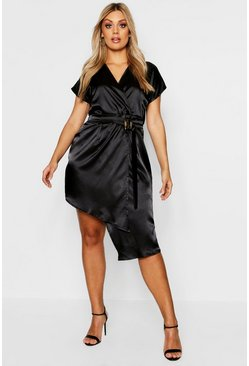 Womens Black Plus Tortoise Shell Buckle Satin Wrap Dress