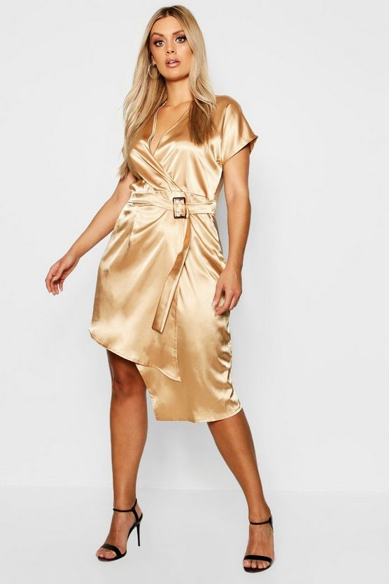 Plus Tortoise Shell Buckle Satin Wrap Dress, Camel, Donna