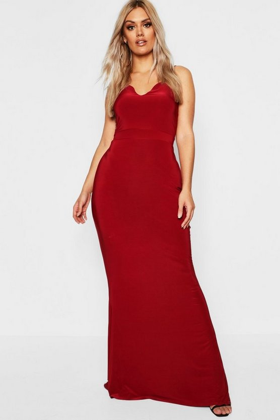 Plus Asymmetric Strap Plunge Maxi Dress