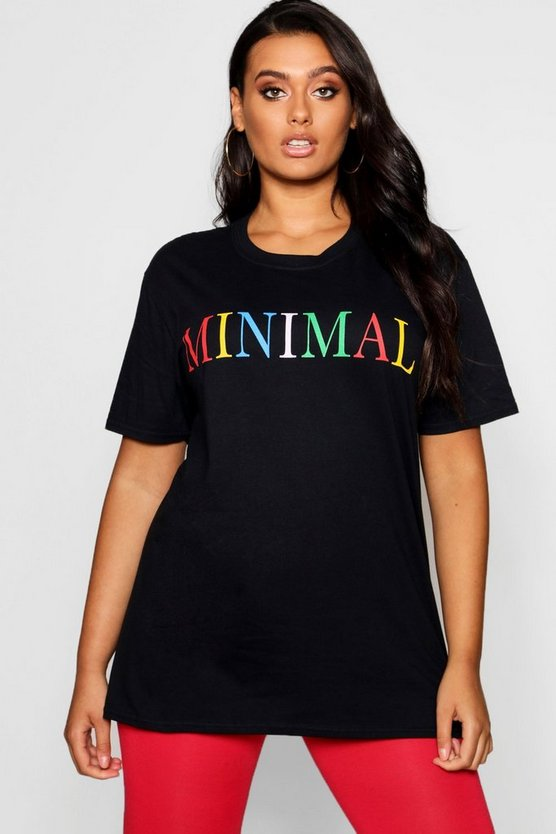 Womens Black Plus 'Minimal' Slogan T-Shirt