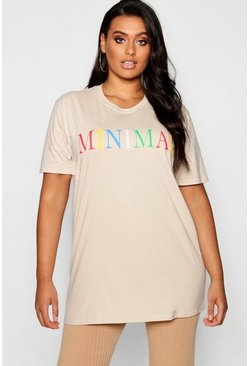 Womens Sand Plus 'Minimal' Slogan T-Shirt