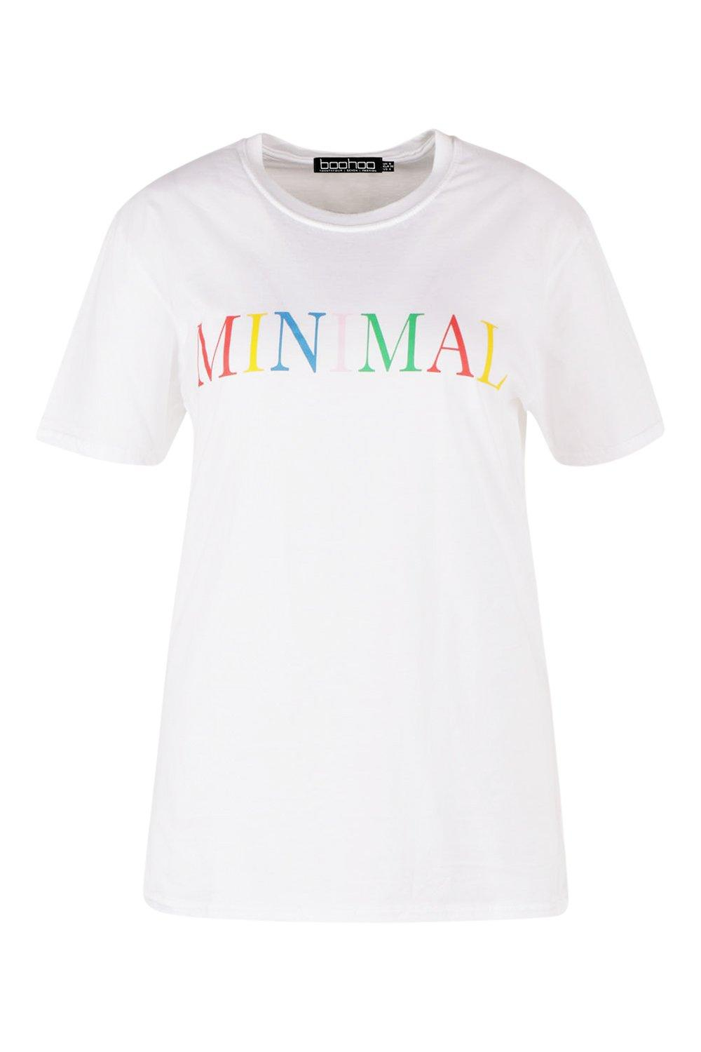 white Slogan 'Minimal' Shirt Plus T qI506wH