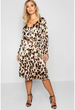 Womens Brown Plus Leopard Print Long Sleeve Midi Dress