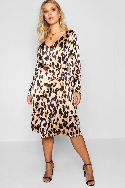 plus leopard print long sleeve midi dress | boohoo