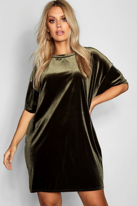 Robe T-shirt en velours Plus