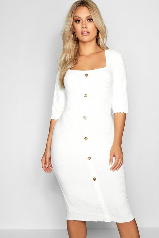 Plus Button Square Neck Bodycon Dress