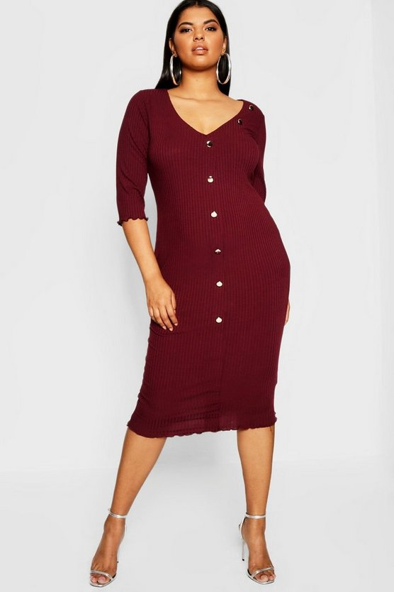 Plus Button Detail Midi Dress