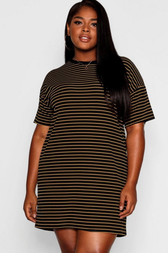 Womens Black Plus Striped T-Shirt Dress