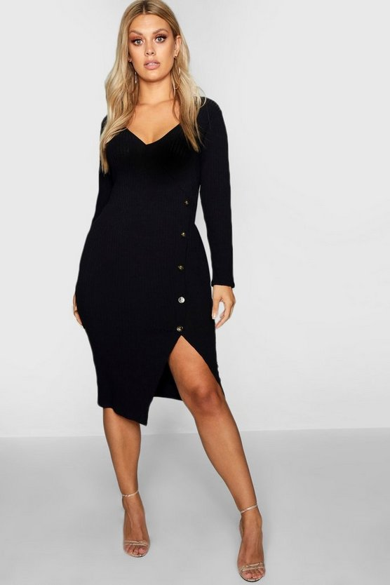Womens Black Plus Ribbed Button Wrap Dress