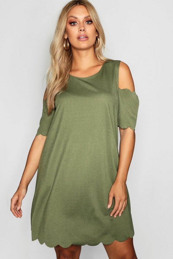 Plus Scallop Edge Open Shoulder Dress