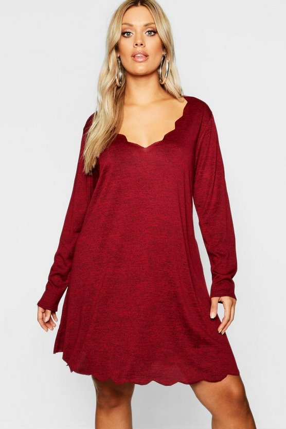 Berry Plus Knitted Scallop Edge Dress