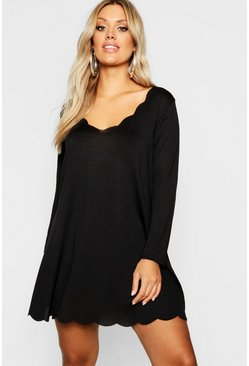 Womens Black Plus Knitted Scallop Edge Dress