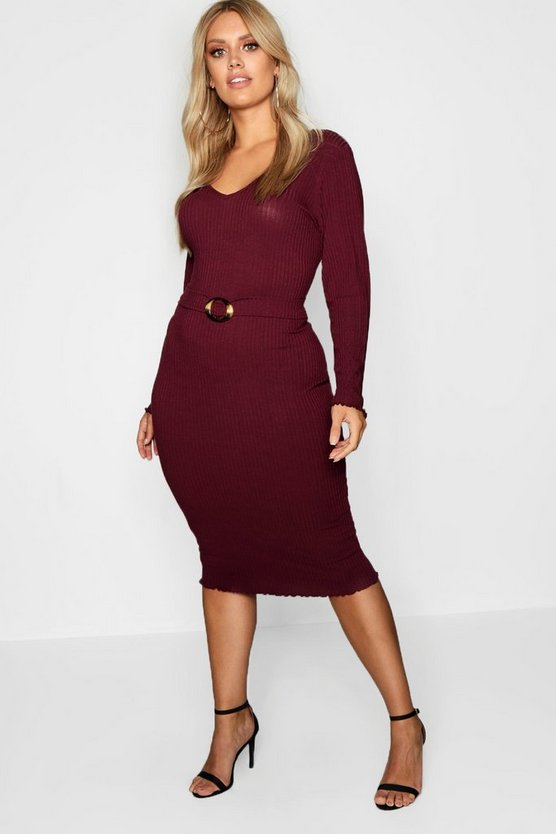 Womens Berry Plus Ribbed Belted Dress