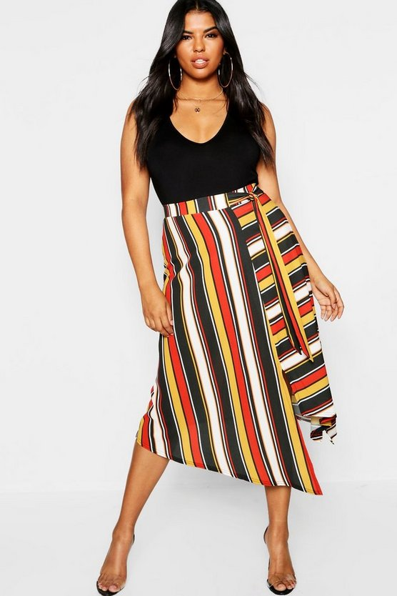 Womens Rust Plus Stripe Asymetric Midi Skirt