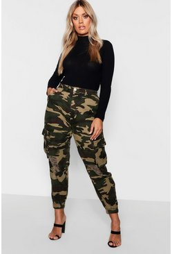 Plus Ripped Pocket Denim Cargo Jeans, Khaki, Donna