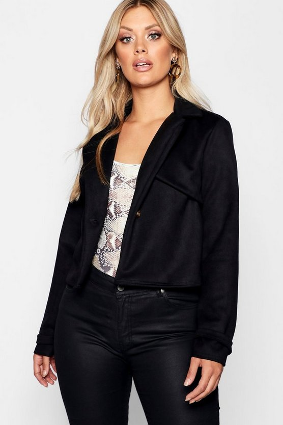 Womens Black Plus Crop Suedette Horn Button Jacket