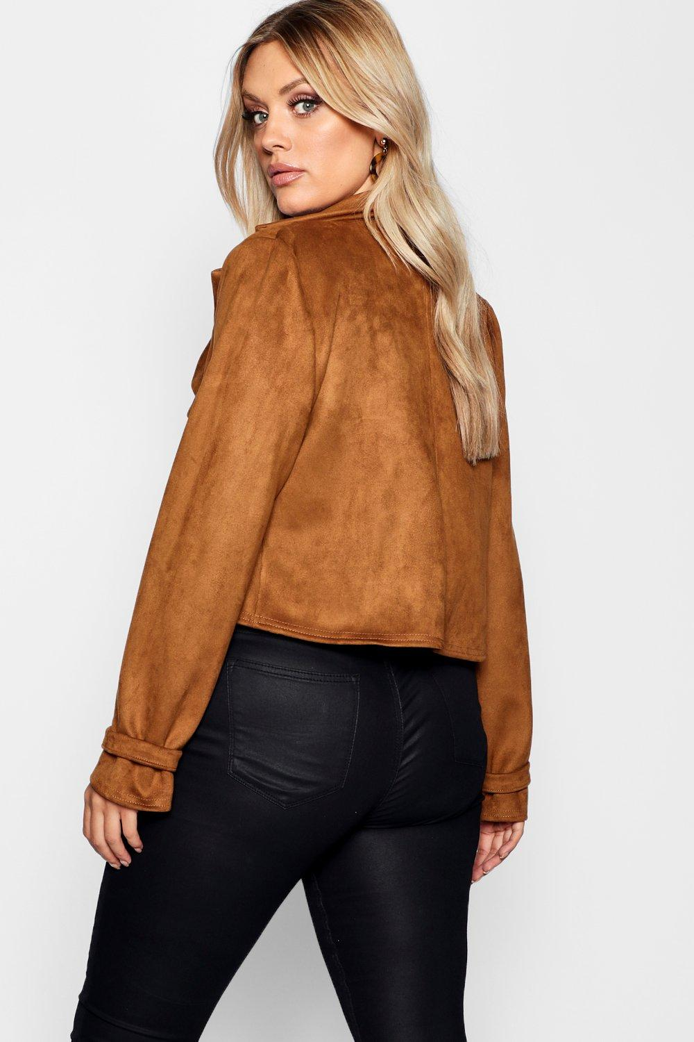 Jacket Crop Button Horn Plus tan Suedette wpnaA0x7