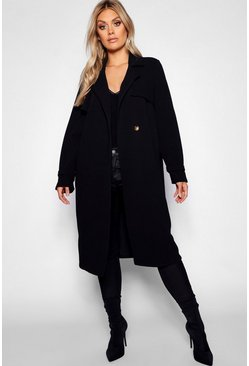 Womens Black Plus Longline Horn Button Duster