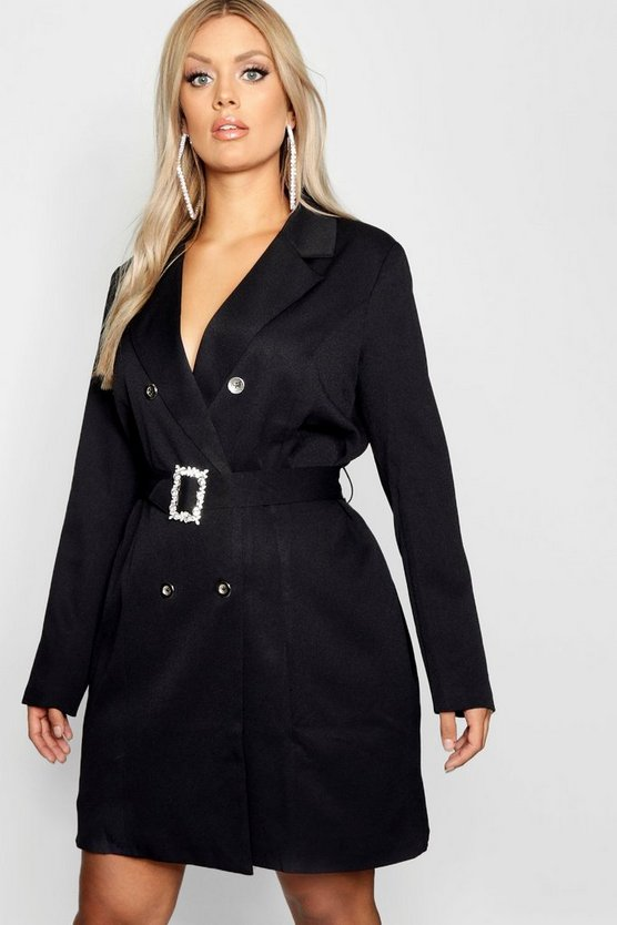 Plus Diamante Belt Blazer
