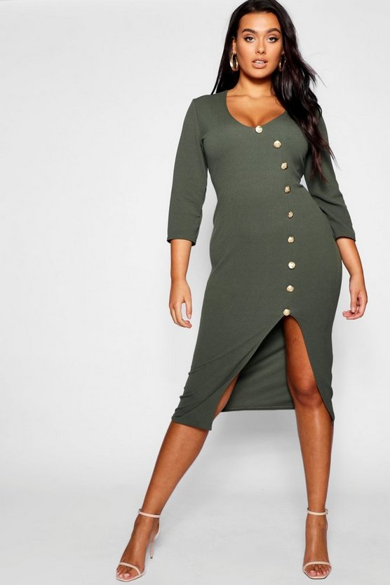 Plus Gold Button Wrap Midi Dress