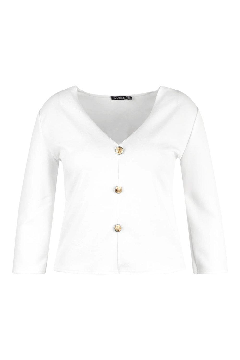 Plus Top ivory Sleeve 3 4 Gold Button wqnTwA4r