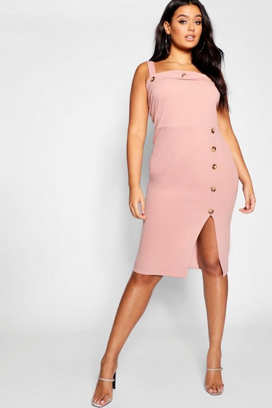 Womens Rose Plus Button Detail Midi Dress