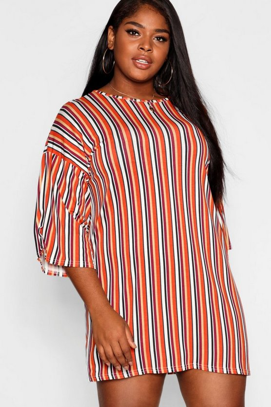 Womens Orange Plus Striped T-Shirt Dress