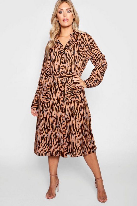 Womens Brown Plus Tiger Printed Shirt Midi Dress