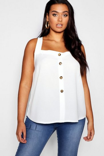 Womens Ivory Plus Button Woven Cami