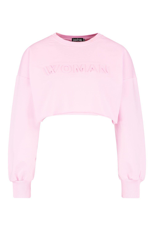 Sweat Crop Embossed Woman pink Edge Raw AqSnIY