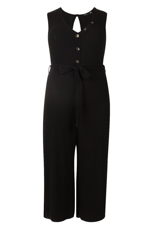 black Plus jumpsuit Culotte Button Ribbed Pzz6wHf