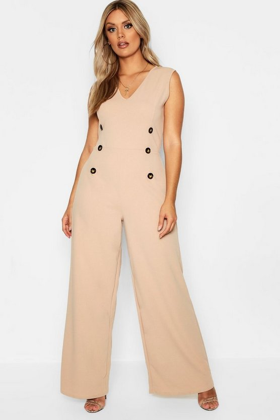 Plus Crepe Horn Button Detail Jumpsuit
