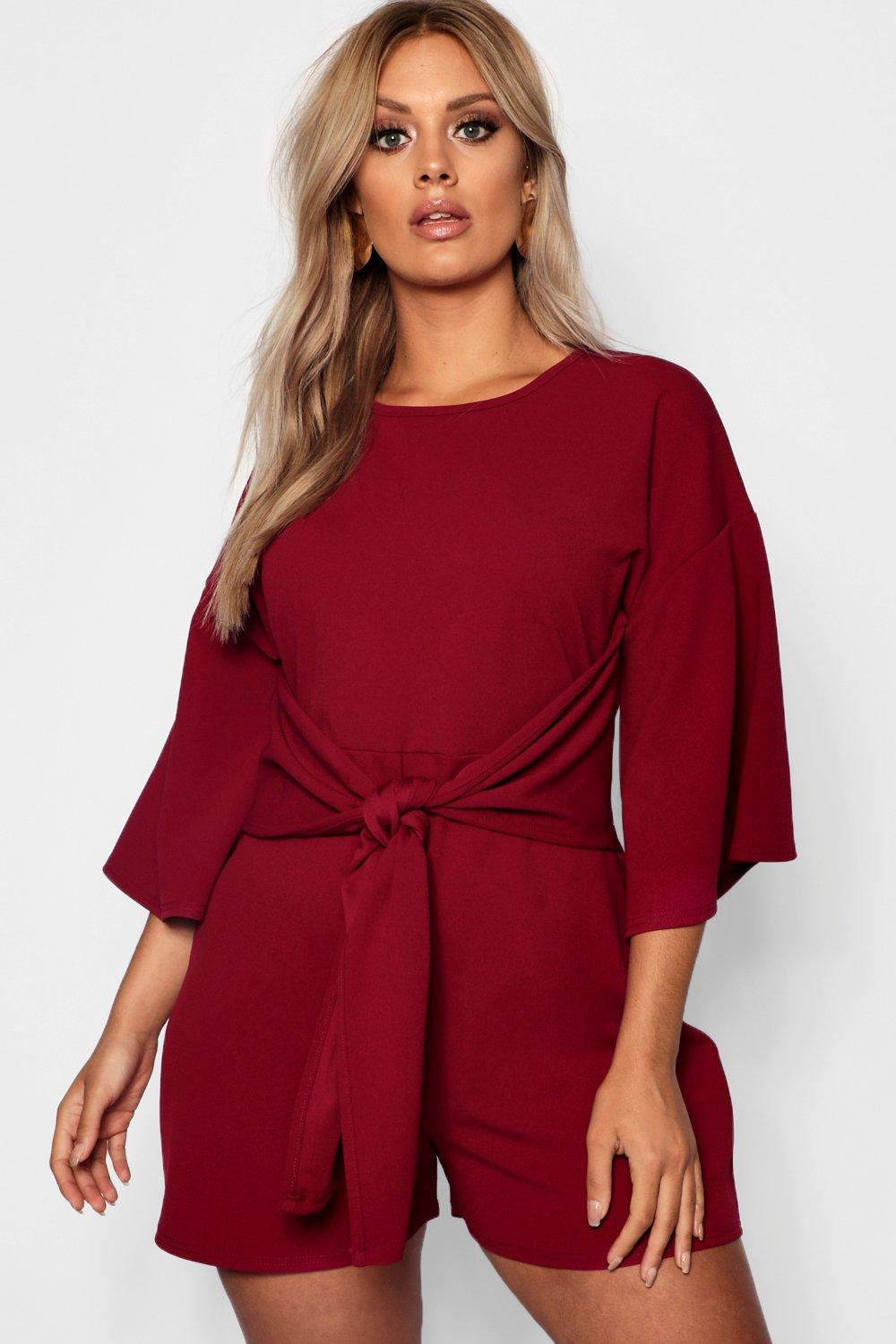 a965bc0af14374 Plus Kimono Sleeve Tie Waist Playsuit. Hover to zoom