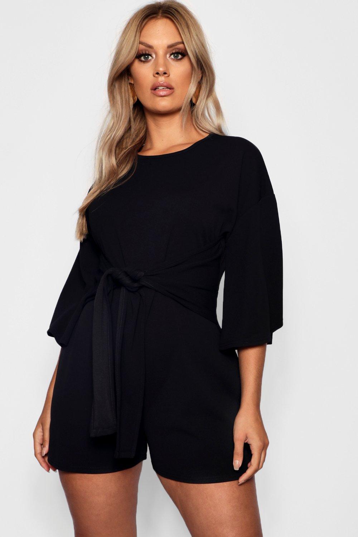 Waist Plus black Playsuit Sleeve Tie Kimono SqwwAxPUHn