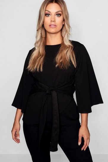 Womens Black Plus Kimono Sleeve Tie Waist Top